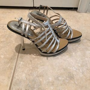 Michael Kors Silver Strappy heels with platform 7